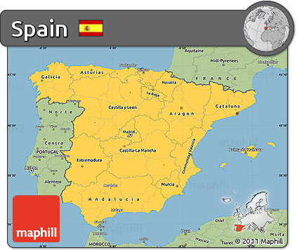 Savanna Style Simple Map of Spain
