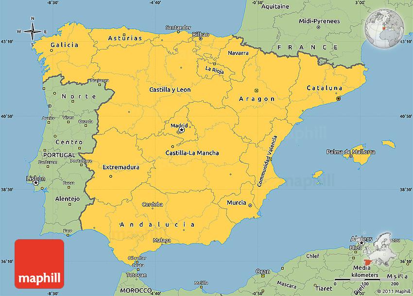 Map Of Spain Jpg.Savanna Style Simple Map Of Spain