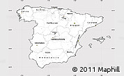 Silver Style Simple Map of Spain, cropped outside