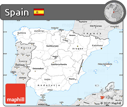 Silver Style Simple Map of Spain