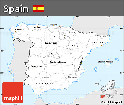 Silver Style Simple Map of Spain, single color outside