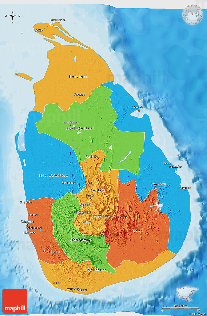 Sri Lanka Political Map.Political 3d Map Of Sri Lanka