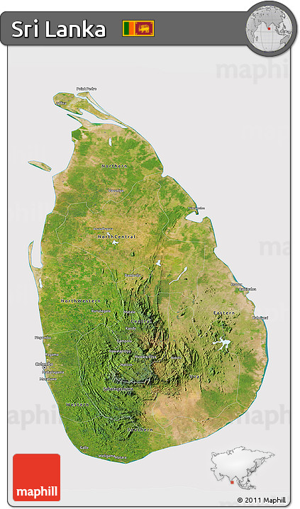 Free Satellite 3D Map of Sri Lanka cropped outside