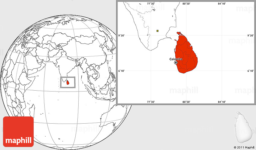 Blank Location Map of Sri Lanka
