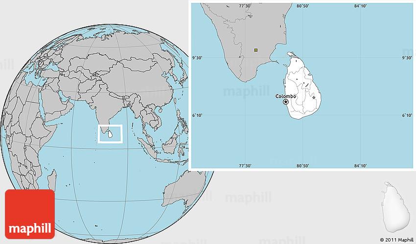 Blank Location Map of Sri Lanka, gray outside