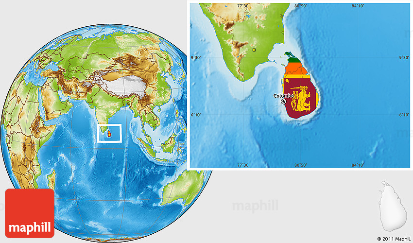 Flag Location Map Of Sri Lanka Physical Outside - Where is sri lanka located