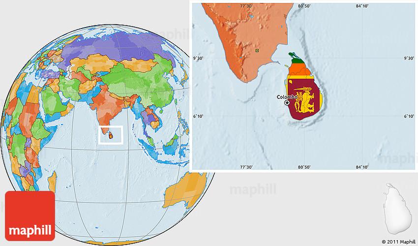 Flag Location Map of Sri Lanka political outside