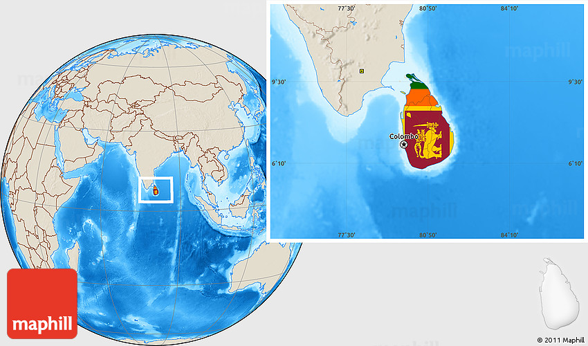 Flag Location Map of Sri Lanka shaded relief outside