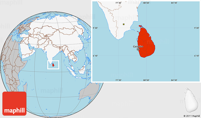 Gray Location Map Of Sri Lanka Highlighted Continent - Where is sri lanka located