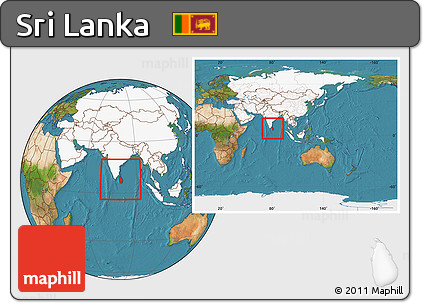 Free Satellite Location Map of Sri Lanka highlighted continent