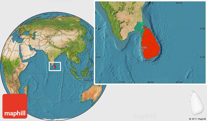 Satellite Location Map of Sri Lanka