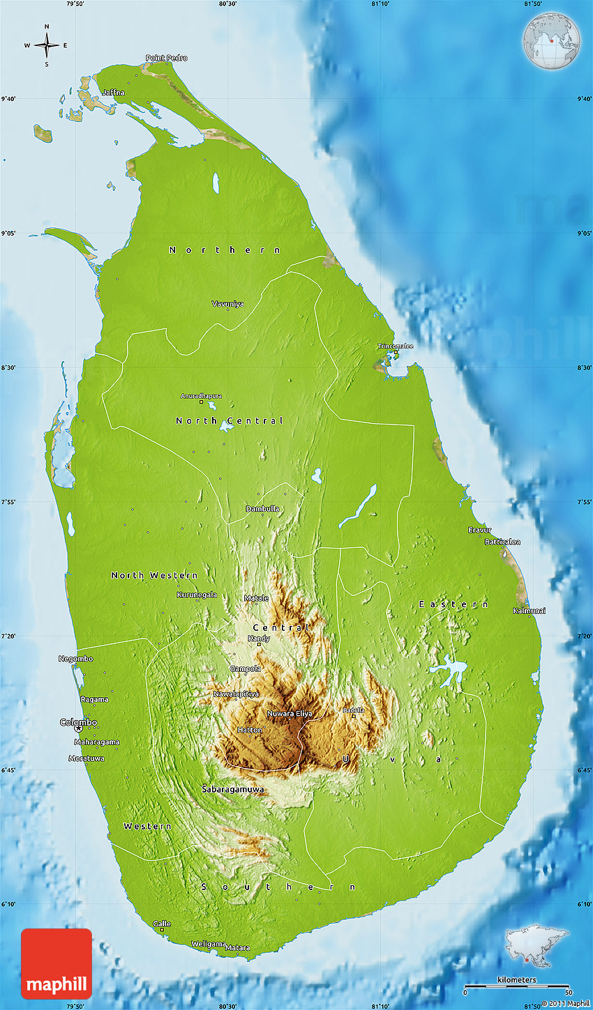 Physical Map of Sri Lanka satellite outside shaded relief sea