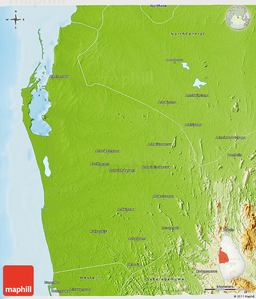 Physical 3D Map of North Western