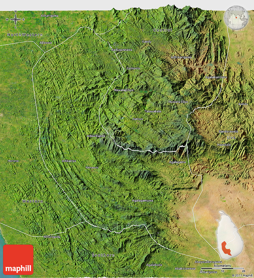 Satellite 3D Map Of Sabaragamuwa