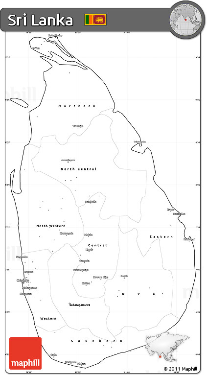 Free Blank Simple Map of Sri Lanka