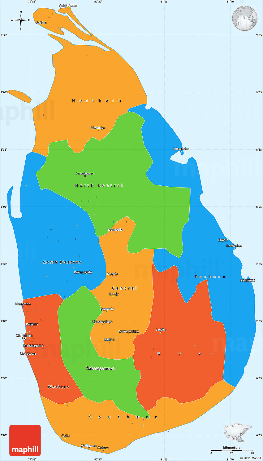 Sri Lanka Political Map.Political Simple Map Of Sri Lanka