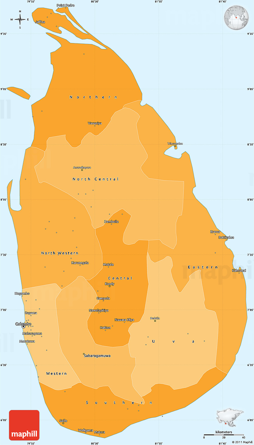 Sri Lanka Political Map.Political Shades Simple Map Of Sri Lanka