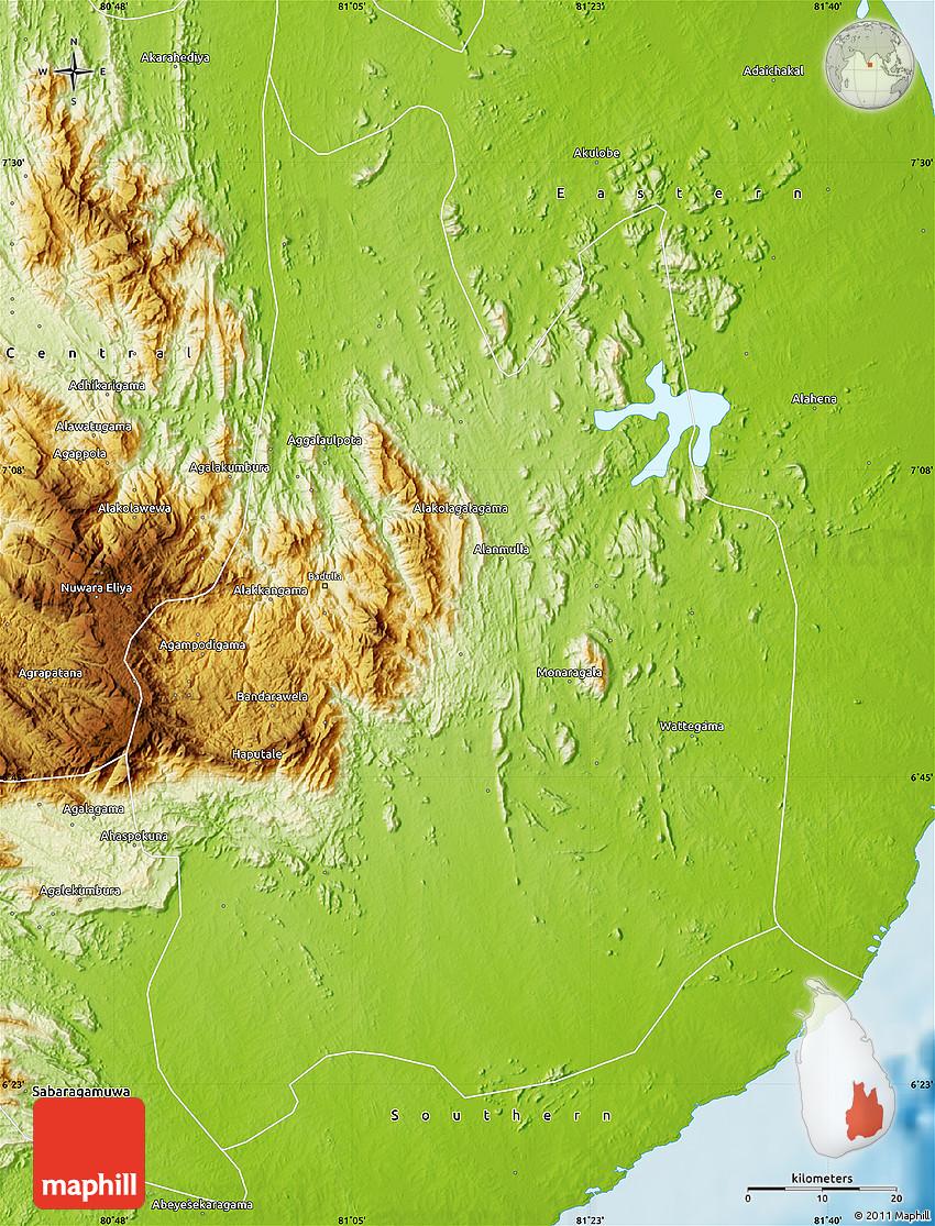 Physical Map Of Uva - Uva map