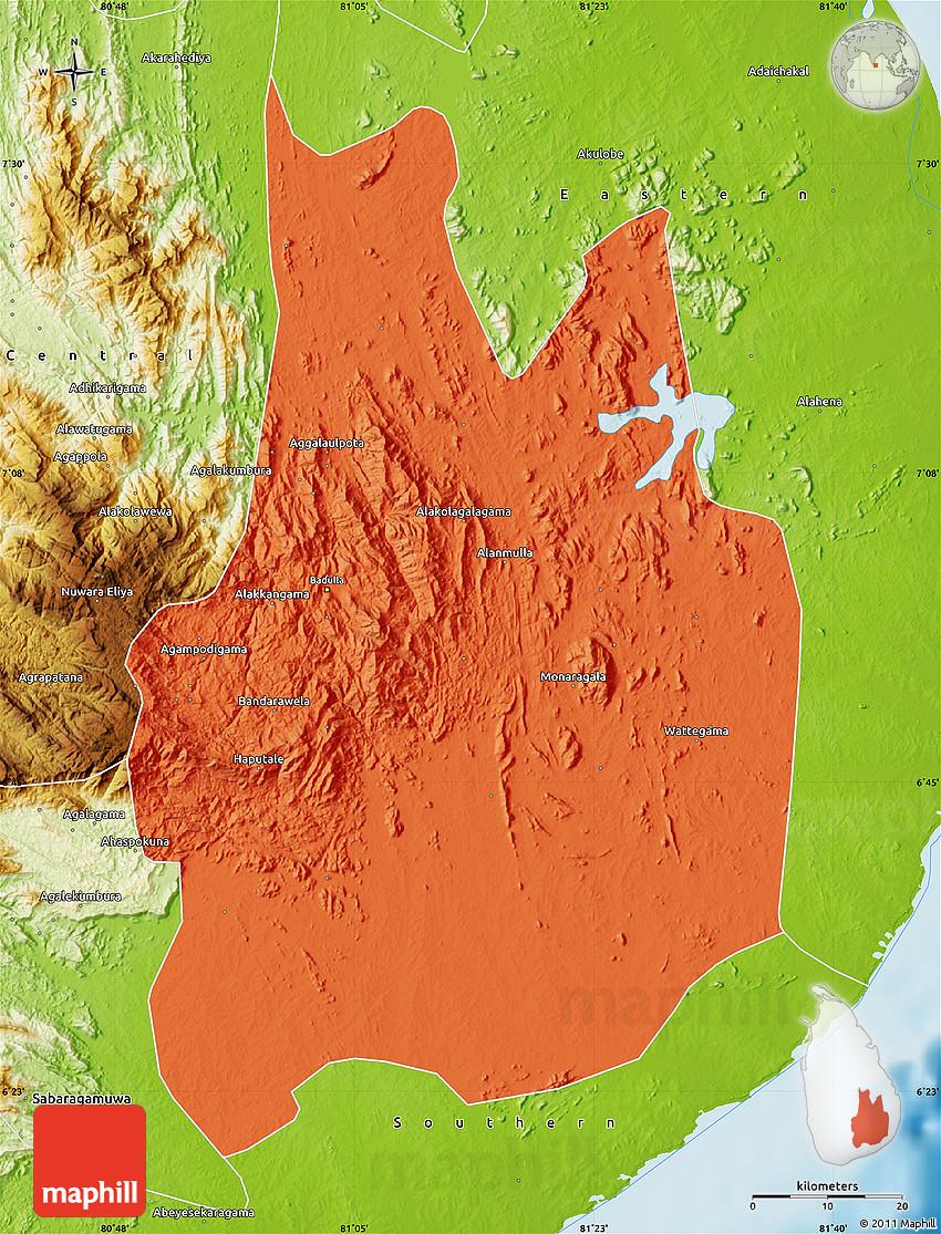 Political Map Of Uva Physical Outside - Uva map