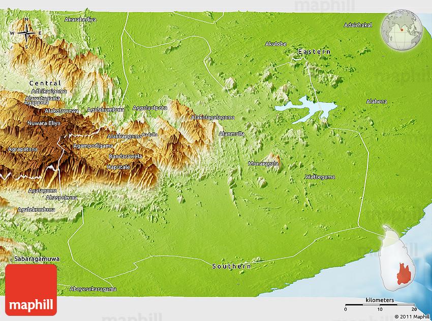 Physical Panoramic Map Of Uva - Uva map