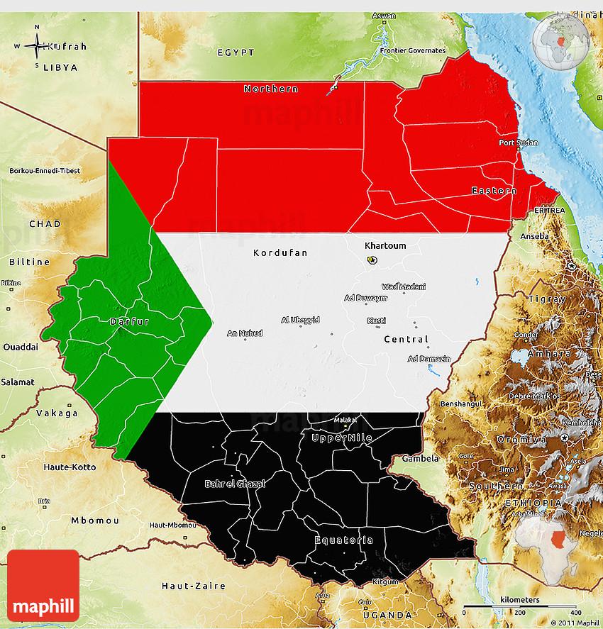 Flag D Map Of Sudan Physical Outside - Map of sudan