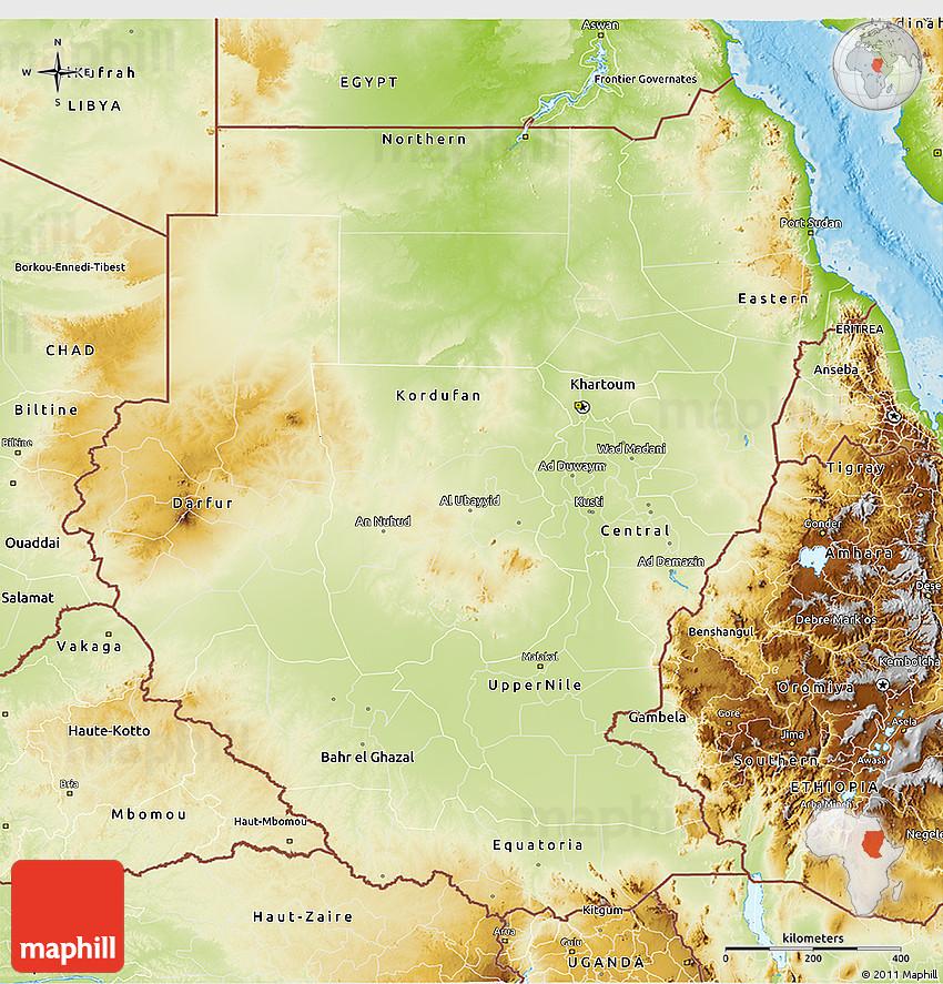 Physical D Map Of Sudan - Map of sudan