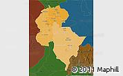 Political Shades 3D Map of Central, darken