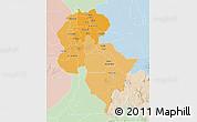 Political Shades 3D Map of Central, lighten