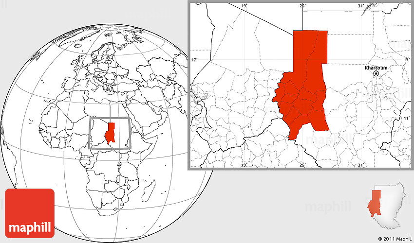 Blank Location Map of Darfur on