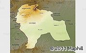 Physical 3D Map of Southern Darfur, darken