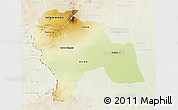 Physical 3D Map of Southern Darfur, lighten