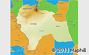 Physical 3D Map of Southern Darfur, political outside