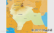 Physical 3D Map of Southern Darfur, political shades outside