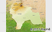 Physical 3D Map of Southern Darfur, satellite outside