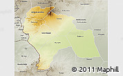 Physical 3D Map of Southern Darfur, semi-desaturated