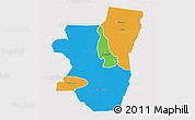 Political 3D Map of Kassala, single color outside