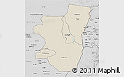 Shaded Relief 3D Map of Kassala, desaturated