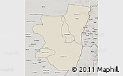 Shaded Relief 3D Map of Kassala, semi-desaturated