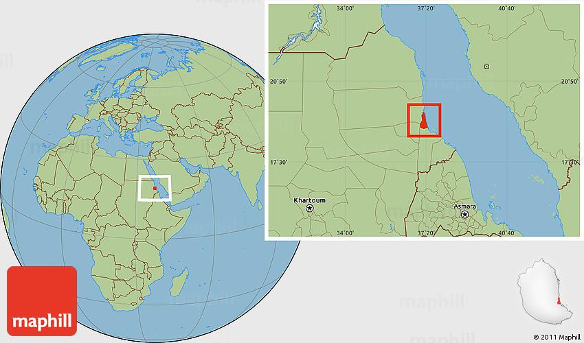 Savanna Style Location Map of Port Sudan