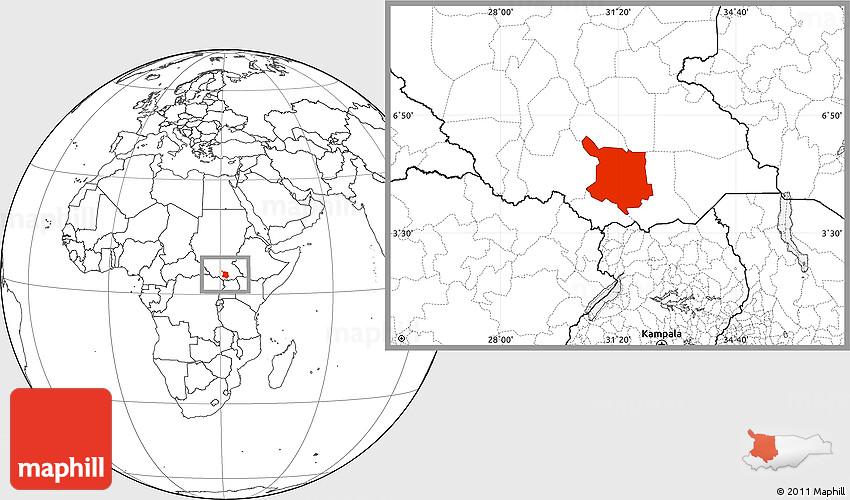 Blank Location Map of Juba