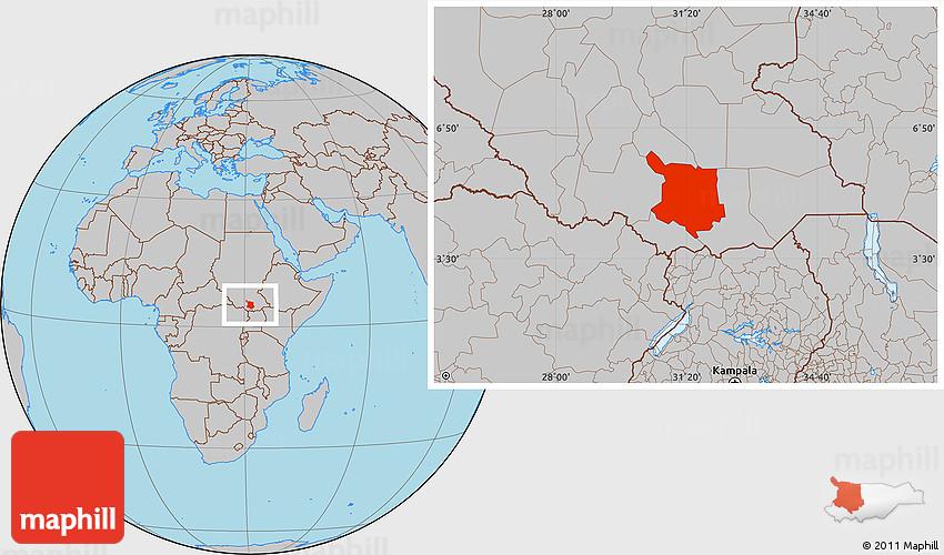 Gray Location Map of Juba