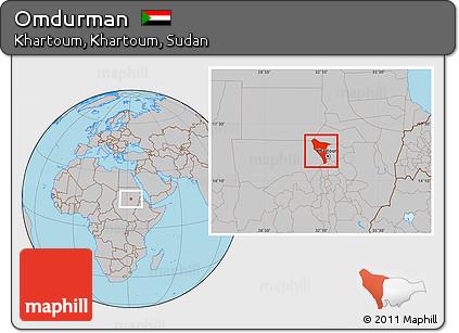 Free Gray Location Map of Omdurman