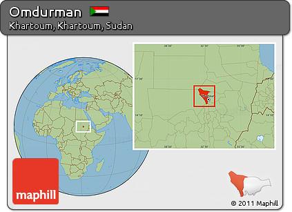 Free Savanna Style Location Map of Omdurman