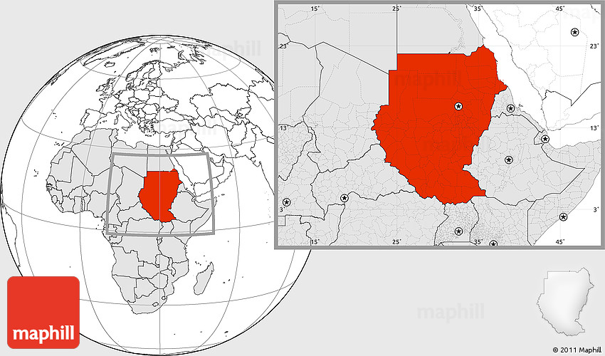 Blank Location Map of Sudan, highlighted continent