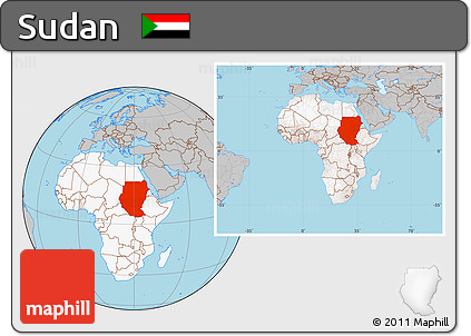 Free Gray Location Map Of Sudan Highlighted Continent Within The - What continent is sudan in