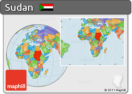 Free Political Location Map Of Sudan Within The Entire Continent - What continent is sudan in