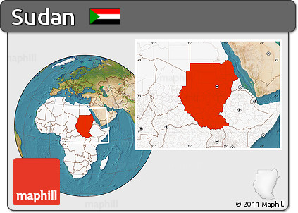 Free Satellite Location Map Of Sudan Highlighted Continent - What continent is sudan in