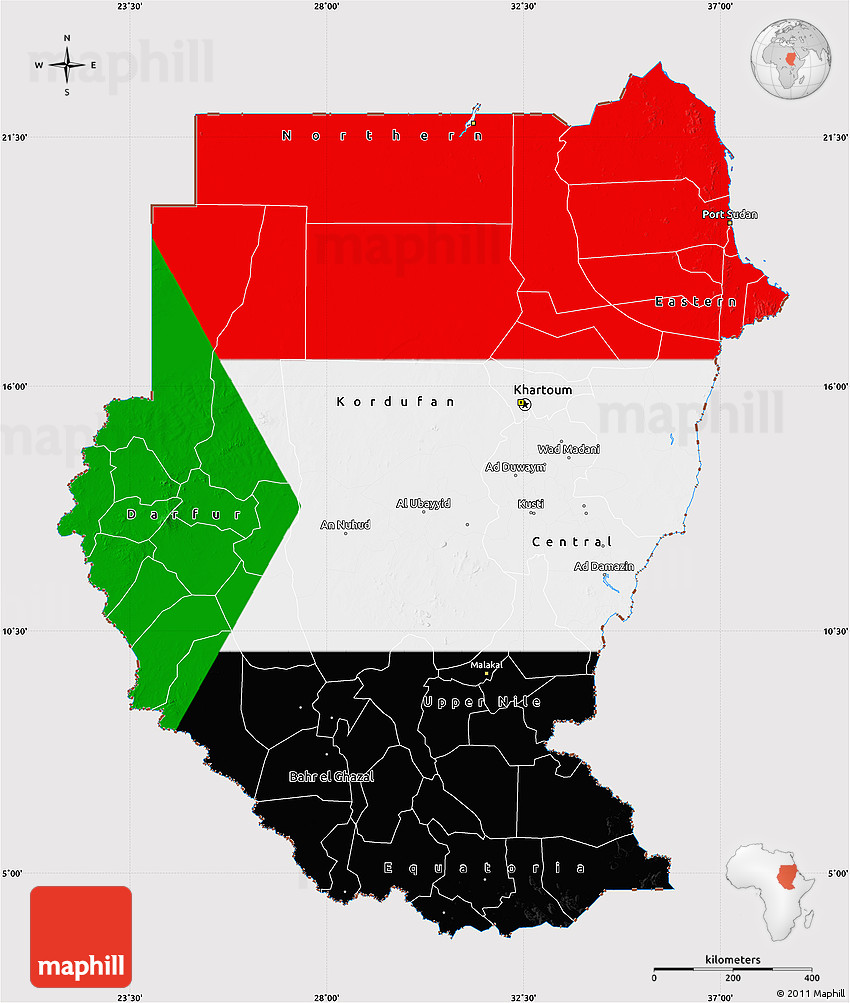 Flag Map Of Sudan - Sudan map
