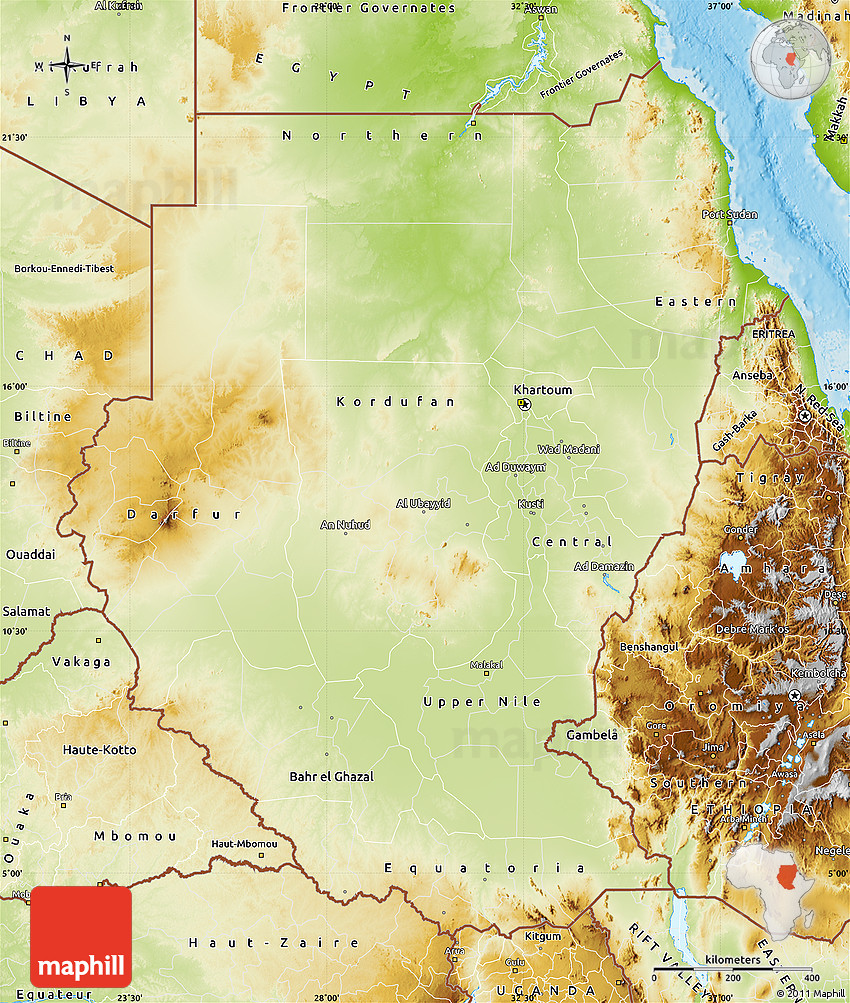 Physical Map of Sudan