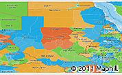 Political Panoramic Map of Sudan